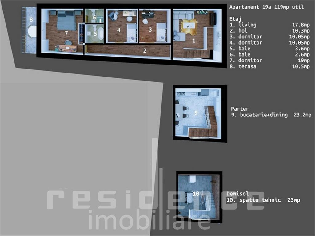 Apartament in duplex, 5 camere, 120 mp, Dambul Rotund + Gradina 52mp